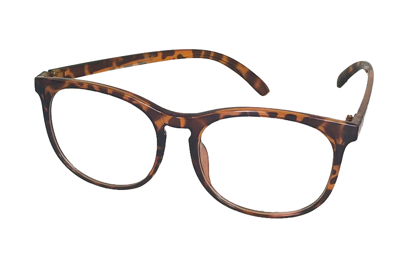 8ee745fb93a2 Rund brille med klart glas uden styrke i skildpaddebrun