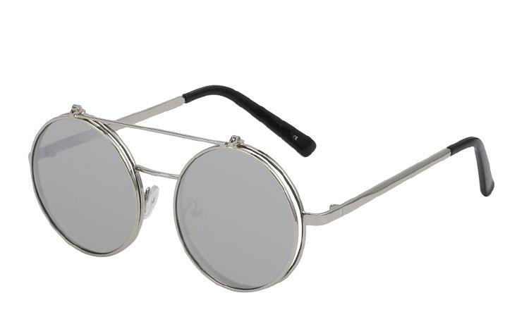 Sølvfarvet brille med spejl flip up solbrille
