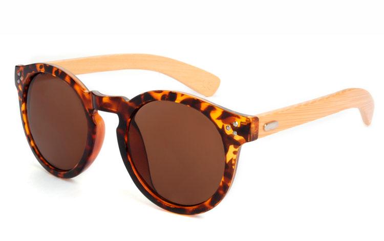 9c8b61741484 Runde lækre bambus solbriller i skildpaddebrunt stel