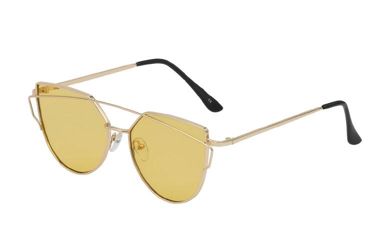 daeb6a4e0c1e Fræk metal cateye solbrille med gult glas - Design nr. 3423