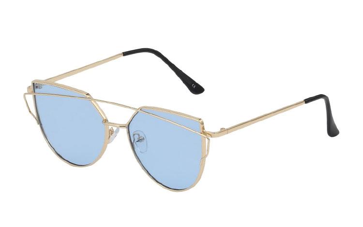 cbdb71d9b75d Solbrille i cateye design med lyseblå linser - Design nr. 3427