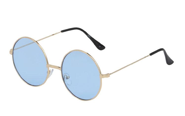 3a4192e28969 Rund metal solbrille med lysblå glas - Design nr. 3438