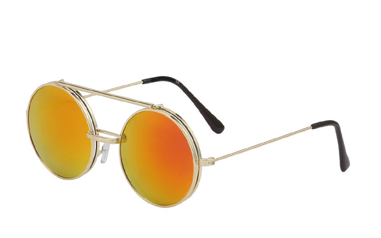 Metal brille med klart med flip up solbriller - Design nr. 3454