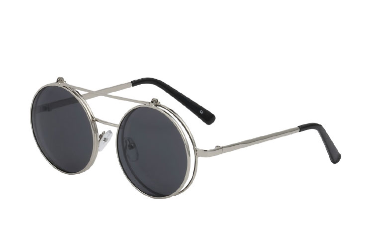Sølvfarvet metal brille med slip up solbrille - Design nr. 3465