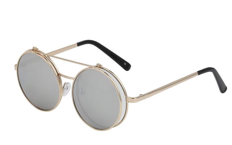 6021eaf36680 Rund metal brille i guldfarvet med flip up solbrille - Design nr. 3466