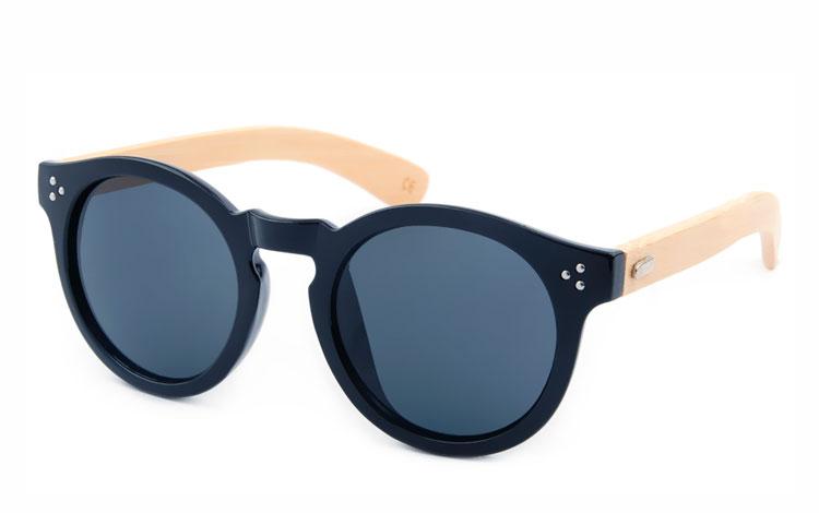 5018a11f495e Rund bambus solbrille med sort front - Design nr. 3496