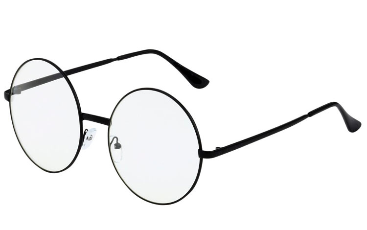 STOR sort metal solbrille i rundt design