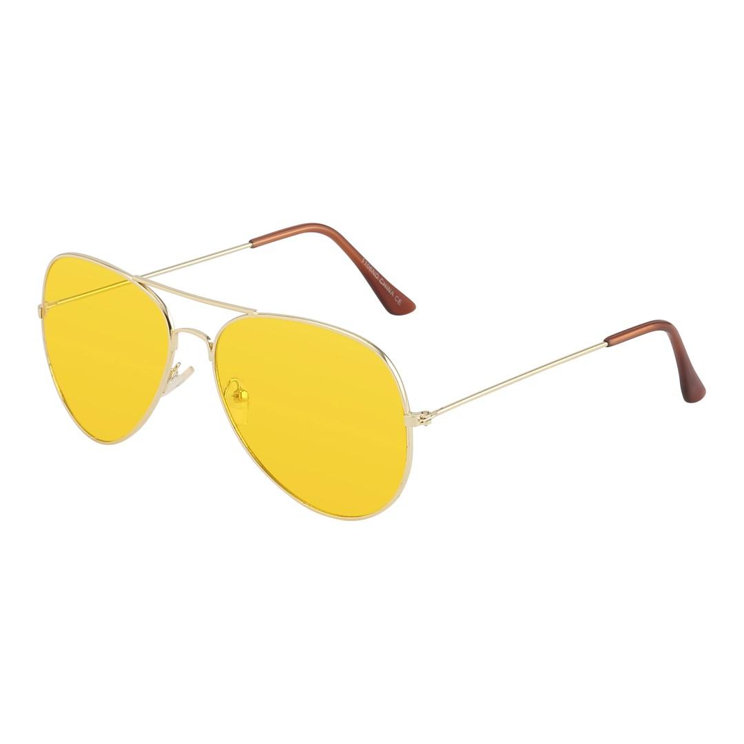 84059dbb6092 Aviator   pilot solbrille i guld med gult glas - Design nr. 1063