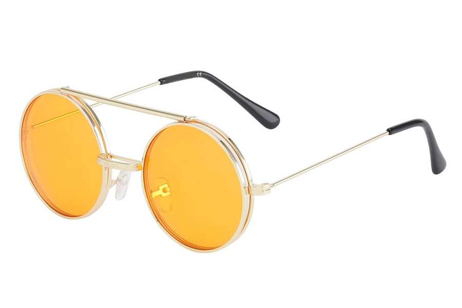 Brille med flip-up solbrille med orange glas.  - Design nr. s3727