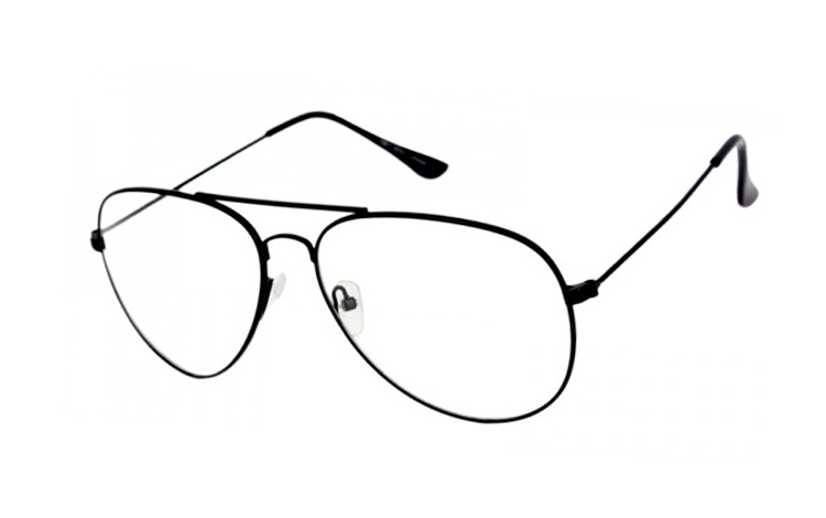 Sort metal brille i aviator design uden styrke - Design nr. s4057